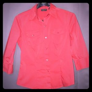 Medium NY&Co Coral Button Up 3/4 Top Blouse NYCO